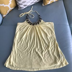 Yellow Halter Top with Embellishment